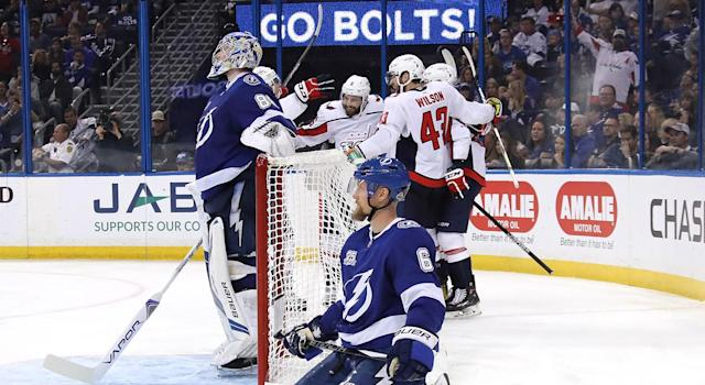 "The <a class=""link rapid-noclick-resp"" href=""/nhl/teams/was"" data-ylk=""slk:Washington Capitals"">Washington Capitals</a> are taking it to Tampa Bay in a way many thought impossible. (Photo by Bruce Bennett/Getty Images)"