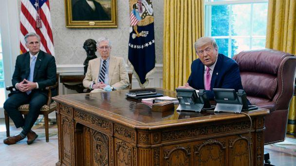 PHOTO: President Donald Trump meets with Senate Majority Leader Mitch McConnell, center, and House Minority Leader Kevin McCarthy in the Oval Office at the White House, July 20, 2020, in Washington. (Evan Vucci/AP)