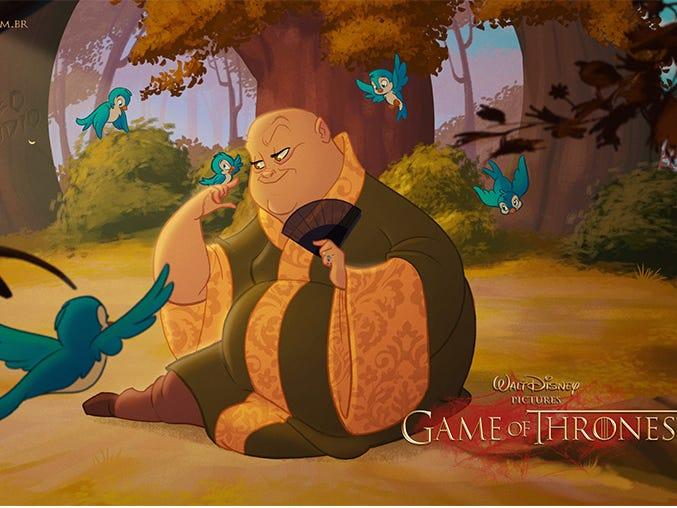 "Varys is clearly a Disney princess. <p class=""copyright""><a href=""http://www.comboestudio.com.br/site/portfolio/serie-game-of-thrones"" rel=""nofollow noopener"" target=""_blank"" data-ylk=""slk:Courtesy of Combo Estudio"" class=""link rapid-noclick-resp"">Courtesy of Combo Estudio</a></p>"