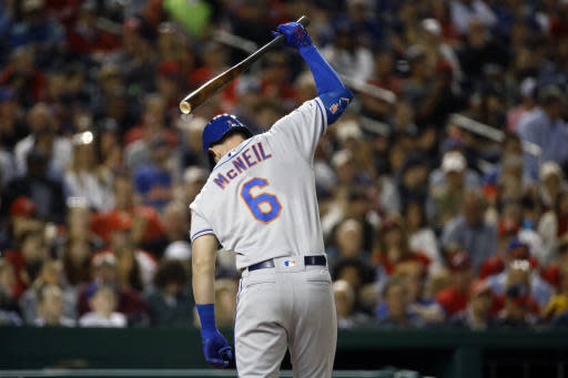 New York Mets' Jeff McNeil reacts after striking out in the fifth inning of a baseball game against the Washington Nationals, Wednesday, May 15, 2019, in Washington. Washington won 5-1. (AP Photo/Patrick Semansky)