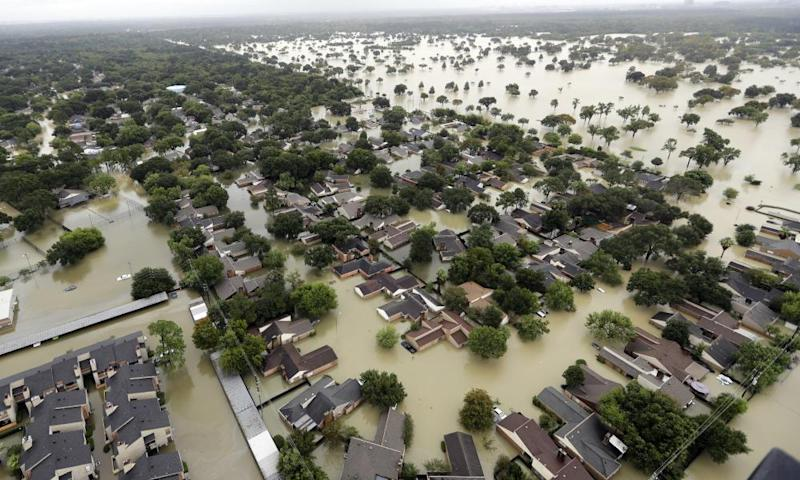 Floodwaters in Houston after Hurricane Harvey struck the US.