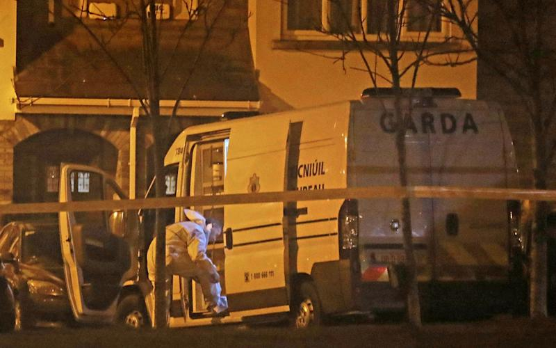 Garda forensic officers examining the semi-detached house - PA
