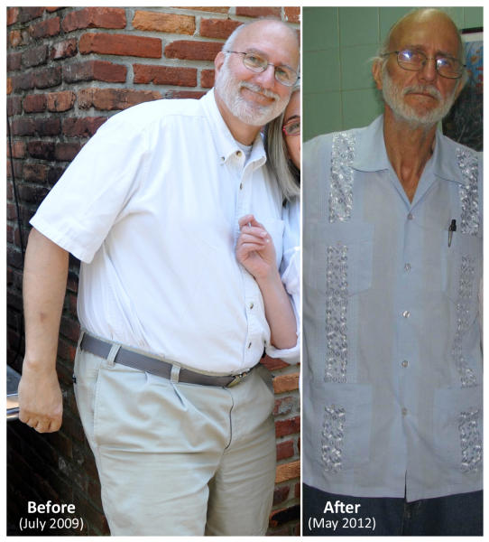 "FILE - This two-picture combo handout file photos provided in June 2012 by Peter Kahn, the attorney of imprisoned American Alan Gross, shows Gross in 2009 and in 2012. Judy Gross who recently returned from a trip to Cuba to see her husband Alan, said Tuesday, Sept. 11, 2012, that she is fearful he will not survive his long incarceration. She begged Cuban President Raul Castro to ""put an end to our anguish and let Alan come home."" (AP Photo/Courtesy of Peter Kahn, File)"