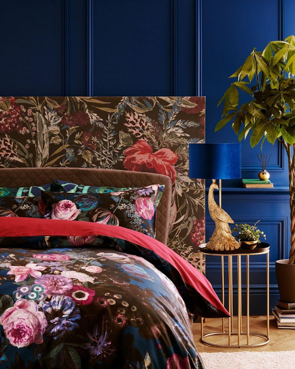 """<p>Inspired by Dutch flower painters, the Dutch Glam range taps into a rich, jewel-toned colour palette. Expect velvet textures, brush brassed <a href=""""https://www.housebeautiful.com/uk/decorate/looks/g33534221/gold-home-accessories/"""" rel=""""nofollow noopener"""" target=""""_blank"""" data-ylk=""""slk:accessories"""" class=""""link rapid-noclick-resp"""">accessories</a> and alluring mirrored surfaces.</p><p>'As our customers gain confidence in the home, bold interiors and<br>statement conversational pieces have grown in popularity,' says Charlotte Greenwood, Homewares Designer.</p><p>'Illuminating the dark winter evenings is the elegant peacock motif that features across textiles and in the form of a spectacular gilded<br>lamp, adding just the right amount of eccentricity.'<br></p><p><a class=""""link rapid-noclick-resp"""" href=""""https://stores.sainsburys.co.uk/"""" rel=""""nofollow noopener"""" target=""""_blank"""" data-ylk=""""slk:FIND YOUR STORE"""">FIND YOUR STORE</a></p>"""