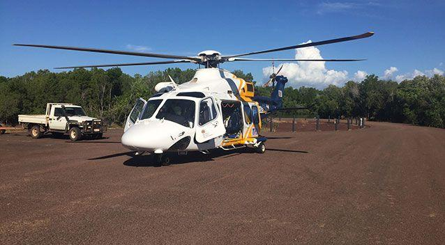 The CareFlight Rescue Helicopter flew in to Leader Creek after the 72-year-old man was found. Photo: CareFlight