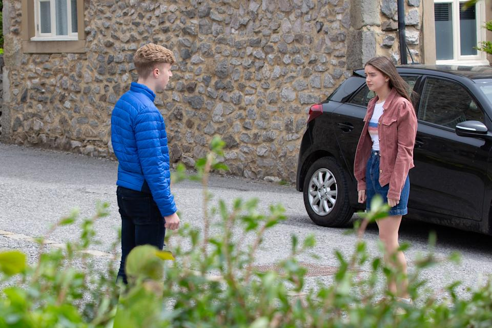 FROM ITV  STRICT EMBARGO  Print media - No Use Before Tuesday 3rd August 2021 Online Media - No Use Before 0700 Tuesday 3rd August 2021  Emmerdale - Ep 9125  Thursday 12th August 2021 - 2nd Ep  Noah Tate [JACK DOWNHAM] discovers Sarah Sugden [KATIE HILL] is trying other routes to track down the family of her heart donor and pleads with him not to tell Charity.   Picture contact David.crook@itv.com   Photographer - Mark Bruce  This photograph is (C) ITV Plc and can only be reproduced for editorial purposes directly in connection with the programme or event mentioned above, or ITV plc. Once made available by ITV plc Picture Desk, this photograph can be reproduced once only up until the transmission [TX] date and no reproduction fee will be charged. Any subsequent usage may incur a fee. This photograph must not be manipulated [excluding basic cropping] in a manner which alters the visual appearance of the person photographed deemed detrimental or inappropriate by ITV plc Picture Desk. This photograph must not be syndicated to any other company, publication or website, or permanently archived, without the express written permission of ITV Picture Desk. Full Terms and conditions are available on  www.itv.com/presscentre/itvpictures/terms