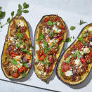 <p>This Greek-inspired stuffed eggplant is filled with veggies and flavors of the Mediterranean. The dish is easy to pull together and the addition of cumin gives it a sweet, earthy note.</p>
