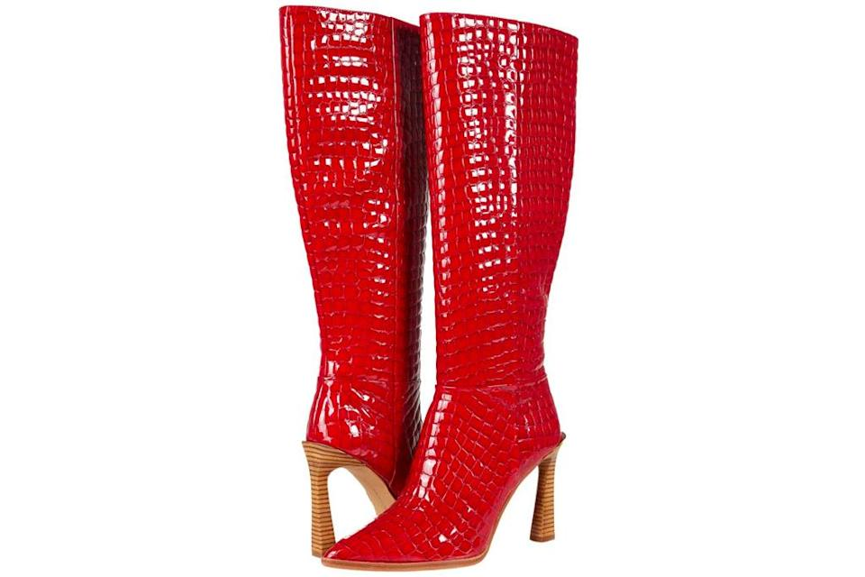 red boots, knee high, heeled, vince camuto