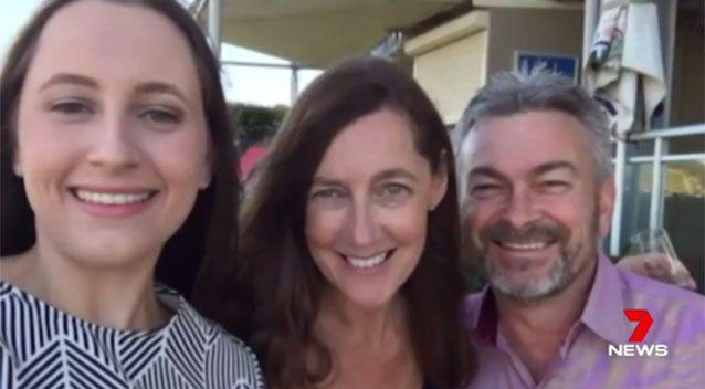 Karen Ristevski pictured with her daughter and husband Borce. Picture: 7 News