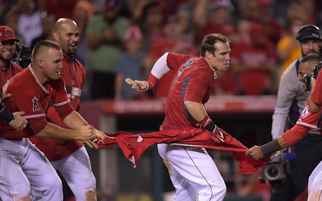 Los Angeles Angels team members rip off the jersey of Collin Cowgill, center, after he hit a home run to win the game in the 14th inning of a baseball game against the Oakland Athletics, Tuesday, June 10, 2014, in Anaheim, Calif. (AP Photo/Mark J. Terrill)