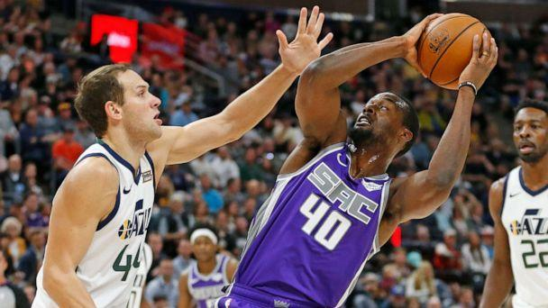 PHOTO: Sacramento Kings forward Harrison Barnes attempts a shot in the first half of a preseason NBA basketball game Monday, Oct. 14, 2019, in Salt Lake City. (Rick Bowmer/AP)