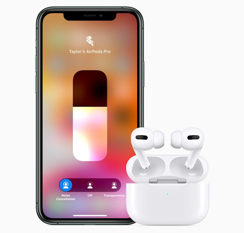 You can adjust the AirPods Pro's ACN and Transparency from the Control Center in iOS 13. (Image: Apple)