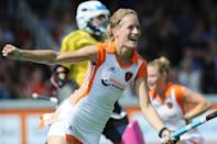 Carlien Dirkse van den Heuvel of The Netherlands reacts after the first goal against Germany during the women's Champions Trophy group B hockey match in Amsterdam, Netherlands, Sunday, June 26, 2011. (AP Photo/Ermindo Armino)