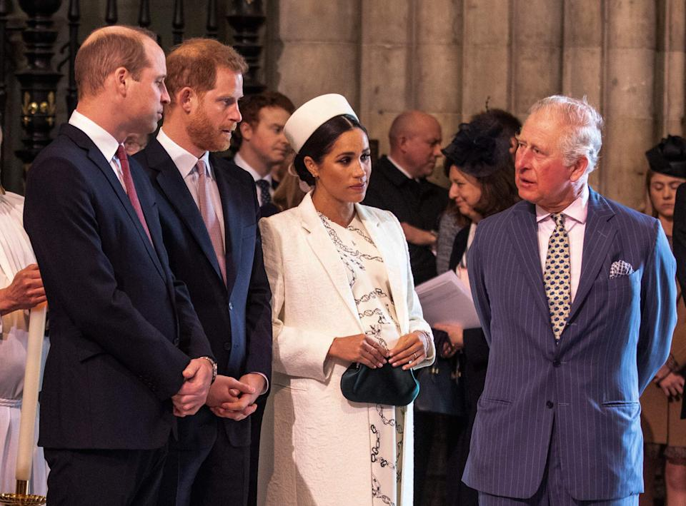 Britain's Meghan, Duchess of Sussex (2R) talks with Britain's Prince Charles, Prince of Wales (R) as Britain's Prince William, Duke of Cambridge, (L) talks with Britain's Prince Harry, Duke of Sussex, (2L) as they all attend the Commonwealth Day service at Westminster Abbey in London on March 11, 2019