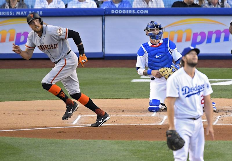The Giants beat the Dodgers on Monday night at Dodger Stadium. (AP)