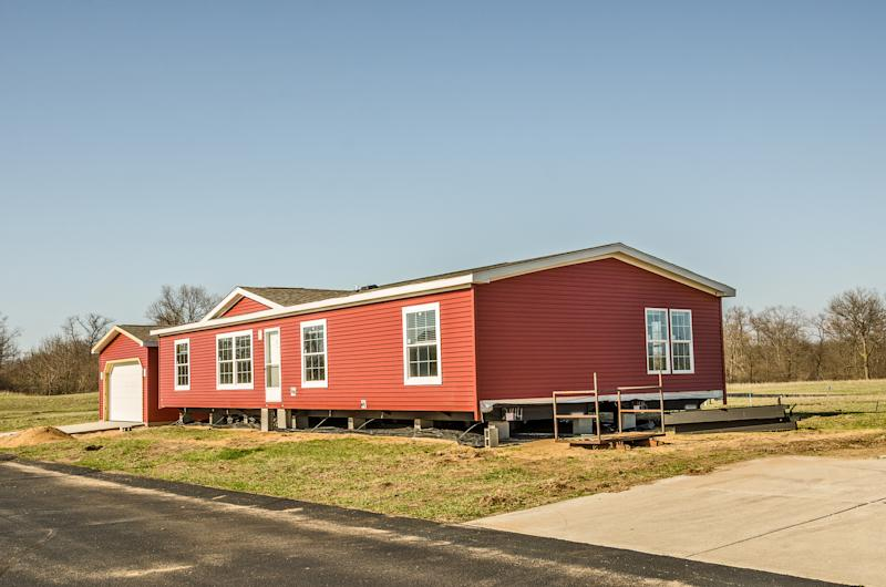 A manufactured home on a plot.