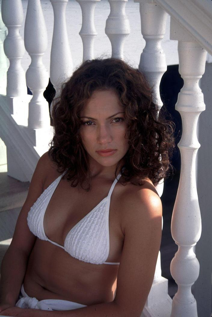 <p>Jennifer Lopez hanging out at a Club Med in the Bahamas in 1997. </p>