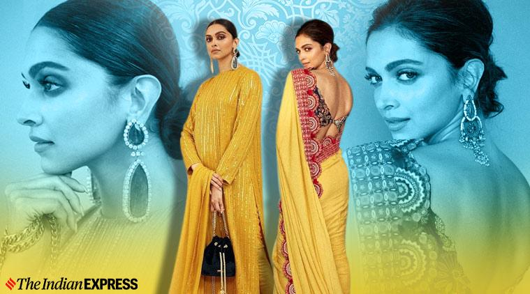 Deepika Padukone, deepika padukone Chhapaak promotions, deepika padukone Chhapaak promotions, Sabyasachi Mukherjee, Deepika Padukone print on print sari, Deepika Padukone Sabyasachi Mukherjee sari lokmat awards, indian express news