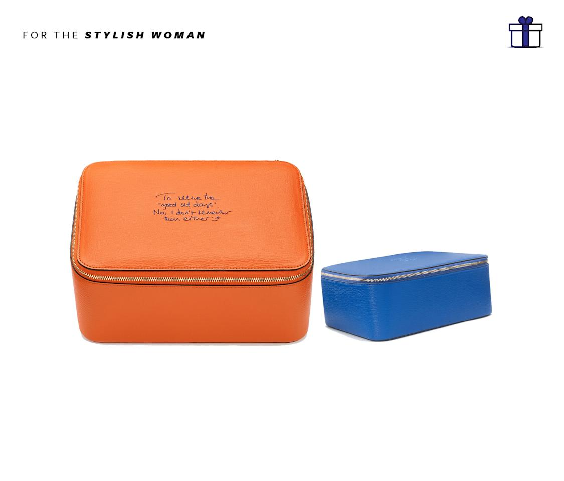 "<p>Make it personal and have it personalized. Allow 1 week for type embossing for that extra personal touch! XL Keepsake Box, $545, <a rel=""nofollow"" href=""http://www.anyahindmarch.com/en-GB/xl-keepsake-box-5050925919227.html#sc=1&q=box&start=60"">anyahindmarch.com</a> </p>"