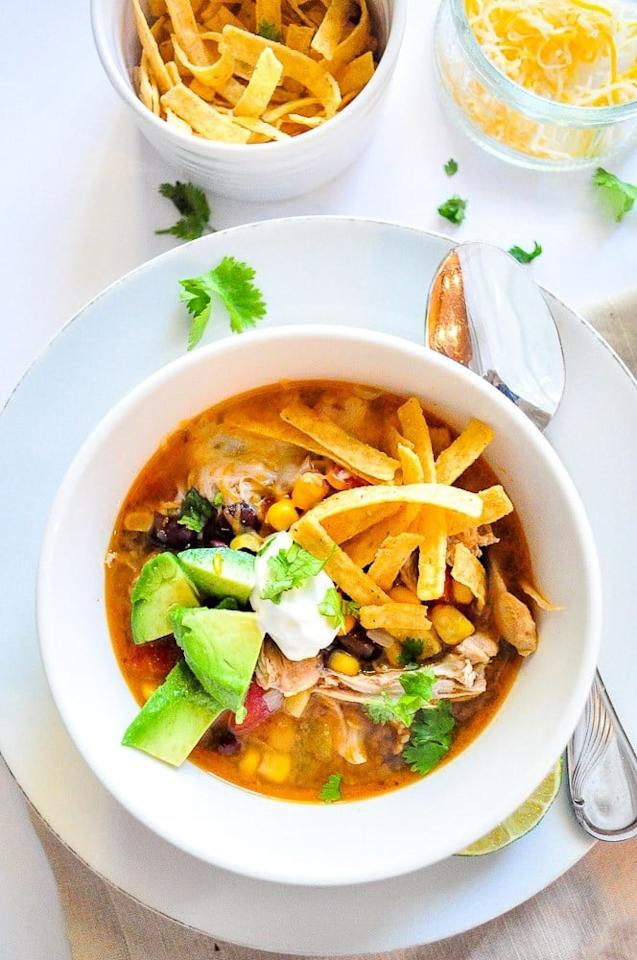 "<p>Tortilla soup is a restaurant fave, but making it at home has never been easier with this recipe that combines flavorful chicken, sweet corn, black beans, and just the right amount of spice.</p> <p><strong>Get the recipe:</strong> <a href=""https://www.popsugar.com/food/Tortilla-Soup-Instant-Pot-Recipe-45312442"" class=""ga-track"" data-ga-category=""Related"" data-ga-label=""http://www.popsugar.com/food/Tortilla-Soup-Instant-Pot-Recipe-45312442"" data-ga-action=""In-Line Links"">Chicken tortilla soup</a></p>"