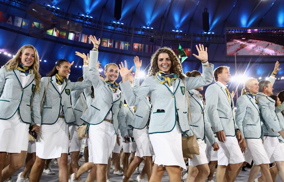 RIO DE JANEIRO, BRAZIL - AUGUST 05: Jessica Fox (C) and other members of the Australia team take part in the Opening Ceremony of the Rio 2016 Olympic Games at Maracana Stadium on August 5, 2016 in Rio de Janeiro, Brazil.  (Photo by Cameron Spencer/Getty Images)