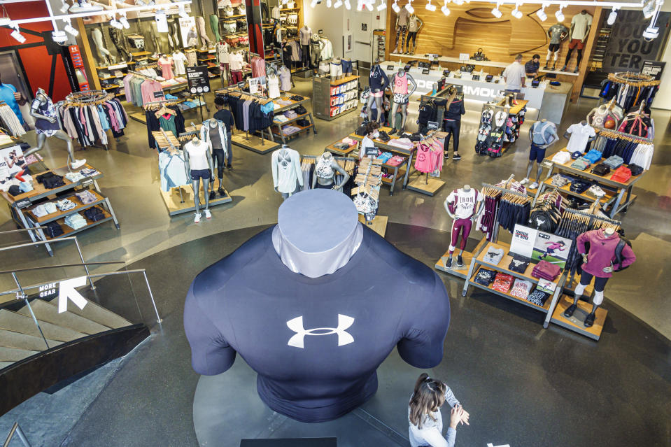 Florida, Orlando, Walt Disney World Resort, Under Armour, athletic sportswear interior merchandise display. (Photo by: Jeffrey Greenberg/Education Images/Universal Images Group via Getty Images)