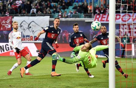 Soccer Football - Bundesliga - RB Leipzig vs Bayern Munich - Red Bull Arena, Leipzig, Germany - March 18, 2018 Bayern Munich's Sandro Wagner scores their first goal REUTERS/Matthias Rietschel