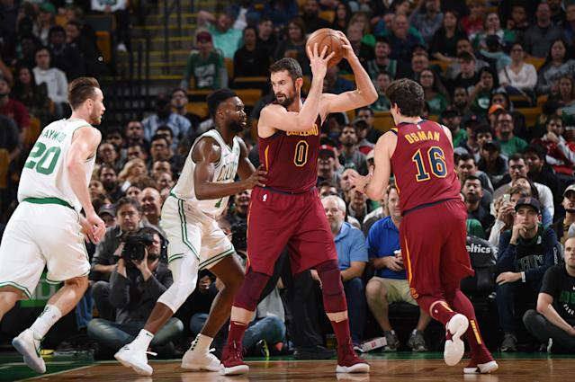 Kevin Love is in the middle of the Cavs' plans this season. (Getty Images)