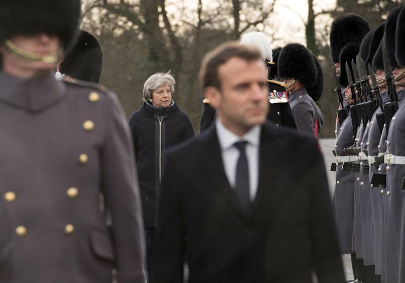 Macron visited Britain this week and held a joint press conference at the Royal Military Academy, Sandhurst (PA Wire/PA Images)