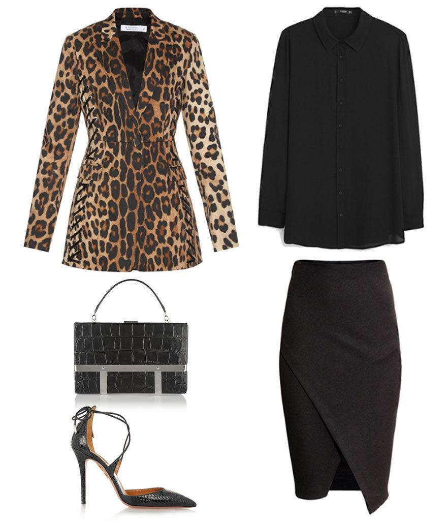 <p>Let no one tell you leopard can't be worn in the office. Swap a basic black blazer for something a little fiercer — as long as the rest of your outfit is covered up and by-the-book, you won't hear so much as a meow from HR.</p>