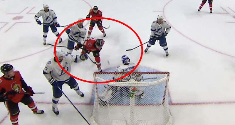 While he may have been bending the rules a bit, Ottawa Senators forward Colin White showed some real creativity against the Tampa Bay Lightning on Saturday night. (NHL.tv)