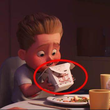 """<p>You probably didn't give a second look to the logo on the takeout container in <em>Incredibles 2</em>, but it turns out that Pixar has been using that <a href=""""https://pixar.fandom.com/wiki/Chinese_Food_Box"""" rel=""""nofollow noopener"""" target=""""_blank"""" data-ylk=""""slk:same pagoda design"""" class=""""link rapid-noclick-resp"""">same pagoda design</a> for years. You can spot it in <em>Toy Story 4</em> inside the antique-shop owner's fridge, <em>Inside Out</em> when Riley's family gets Chinese food, among the mess in Luigi's apartment in <em>Ratatouille</em><em>, </em>in the Pizza Planet truck in <em>Toy Story 2</em> (Easter eggs within Easter eggs!), all the way back to <em>A Bug's Life</em>, where it doubled as Manny the Mantis' """"Chinese Cabinet of Metamorphosis.""""</p>"""