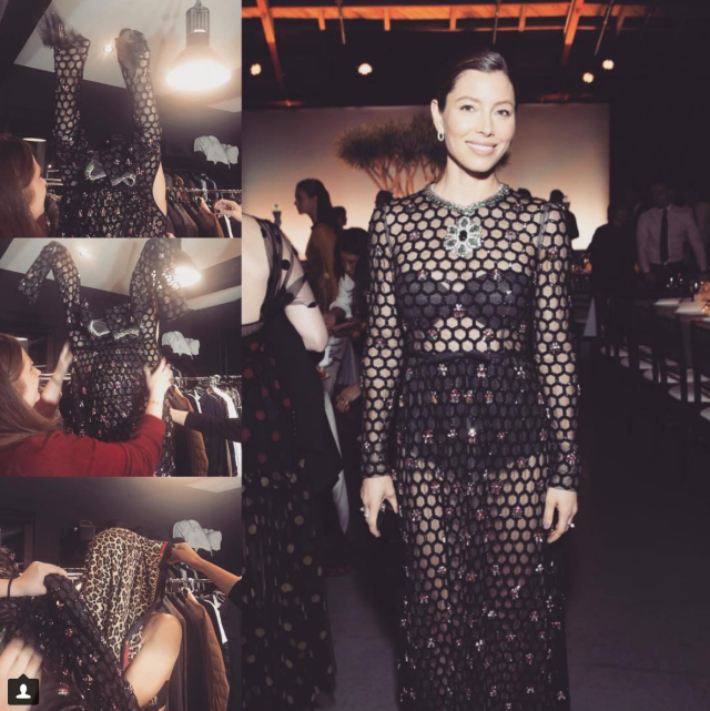 "<p>The actress hilariously shared photos of the difficulties she had getting into the netted dress she wore to the Baby2Baby Gala on Saturday night, before giving us a look at the final product. ""The struggle is real,"" she wrote. ""Proud to support such an amazing cause!"" (Photo: <a href=""https://www.instagram.com/p/BbaiTgiFVzH/?hl=en&taken-by=jessicabiel"" rel=""nofollow noopener"" target=""_blank"" data-ylk=""slk:Jessica Biel via Instagram"" class=""link rapid-noclick-resp"">Jessica Biel via Instagram</a>) </p>"