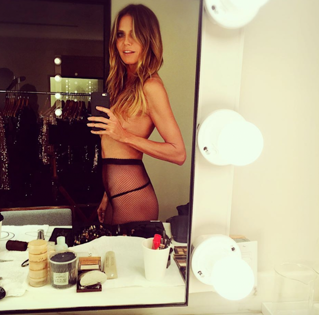Model Heidi Klum shared a topless photo on her Instagram. (Photo: Instagram/Heidi Klum)