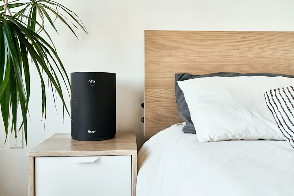"""<h2>Best Small Space Air Purifier</h2><br>Happi's compact and lightweight purifier features a five-filter technology that cleans the air within 150 sq. ft. The LED display also monitors air quality and alerts you when it's time to replace the filter. <br><br><strong>Happi</strong> My Happi, $, available at <a href=""""https://go.skimresources.com/?id=30283X879131&url=https%3A%2F%2Fbreathehappi.com%2Fproducts%2Fmy-happi-white"""" rel=""""nofollow noopener"""" target=""""_blank"""" data-ylk=""""slk:Happi"""" class=""""link rapid-noclick-resp"""">Happi</a>"""