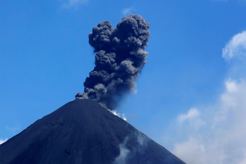 The Pacaya volcano spews smoke and ash as seen from El Rodeo