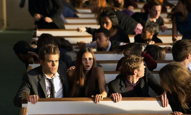 "Paul Wesley as Stefan, Nina Dobrev as Elena and Zach Roerig as Matt in ""Memorial,"" the second episode of ""The Vampire Diaries"" Season 4."