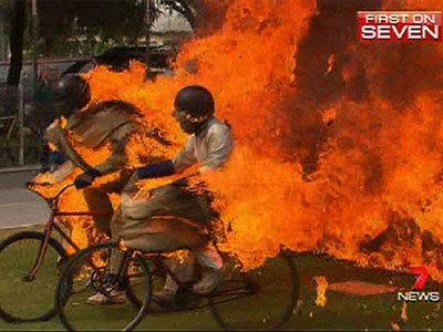 <p>Bike stunt goes horribly wrong</p>