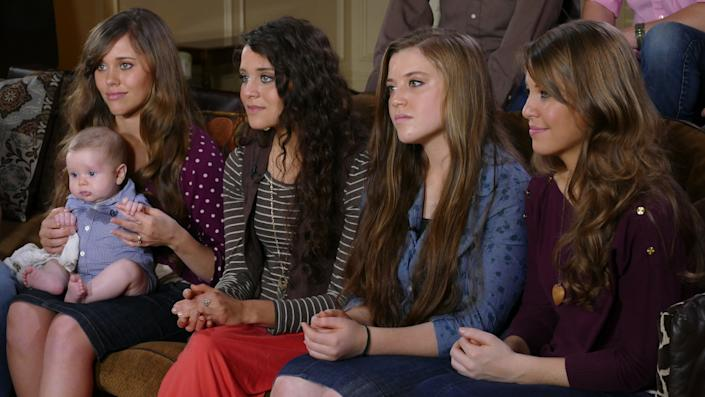 (L to R) Jessa Seewald, depicted with her sisters Jinger Vuolo, Joy Duggar and Jana Duggar, spoke about their brother Josh Duggar's April 30 arrest. (Photo: Getty Images)