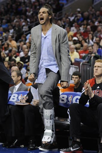 Chicago Bulls' Joakim Noah reacts from the bench against the Philadelphia 76ers during the first half of Game 4 in a first-round NBA basketball playoff series, Sunday, May 6, 2012, in Philadelphia. (AP Photo/Michael Perez)