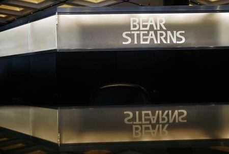 The Bear Stearns logo is seen at the lobby of the headquarters in New York