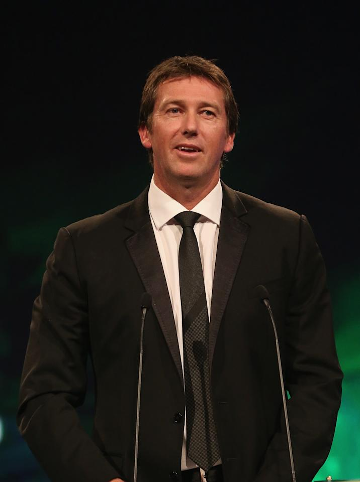 MELBOURNE, AUSTRALIA - FEBRUARY 04:  Glenn McGrath of Australia speaks after being inducted into the Australian Cricket Hall of Fame during the 2013 Allan Border Medal awards ceremony at Crown Palladium on February 4, 2013 in Melbourne, Australia.  (Photo by Scott Barbour/Getty Images)