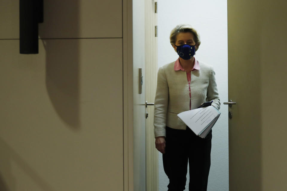 European Commission President Ursula von der Leyen arrives to address a media conference on Brexit negotiations at EU headquarters in Brussels, Thursday, Dec. 24, 2020. (AP Photo/Francisco Seco, Pool)
