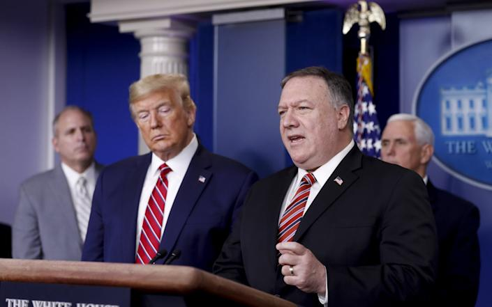 Donald Trump and Mike Pompeo in March 2020 - AL DRAGO/POOL/EPA-EFE/Shutterstock