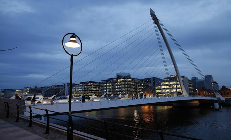 File picture taken on December 11, 2013 shows a general view of the Ulster bank and the financial district in Dublin, Ireland