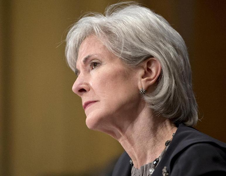 Health and Human Services Secretary Kathleen Sebelius testifies on Capitol Hill in Washington, Wednesday, April 17, 2013, before the Senate Finance Committee hearing on President Barack Obama's budget proposal for fiscal year 2014. (AP Photo/J. Scott Applewhite)