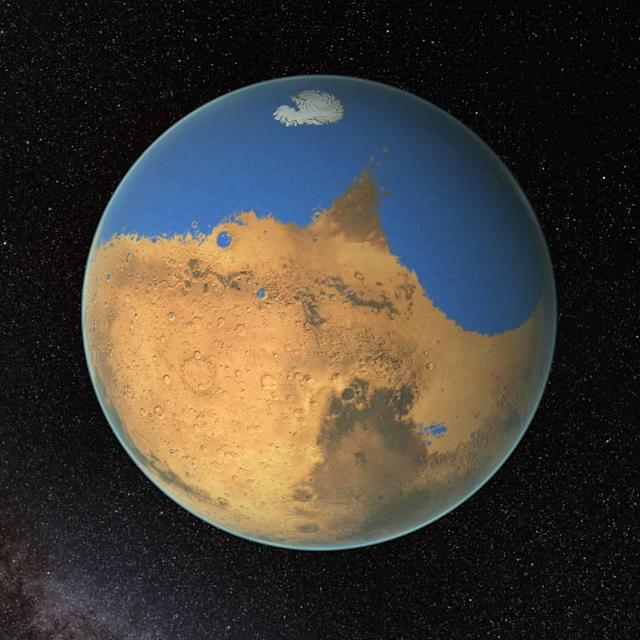 NASA scientists have determined that a primitive ocean on Mars held more water than Earth's Arctic Ocean and that the Red Planet has lost 87 percent of that water to space. (Image: NASA/GSFC)
