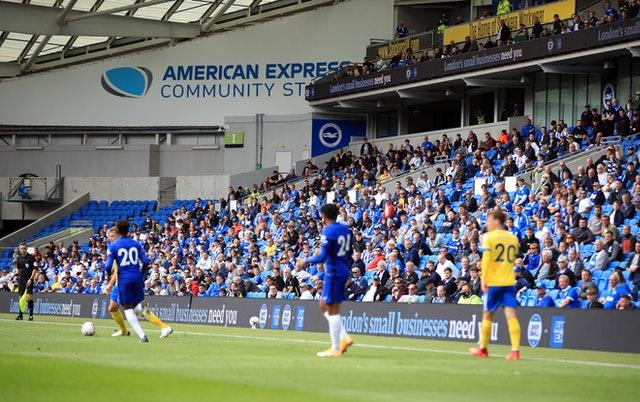 Brighton fans were able to take in the action at the Amex Stadium again