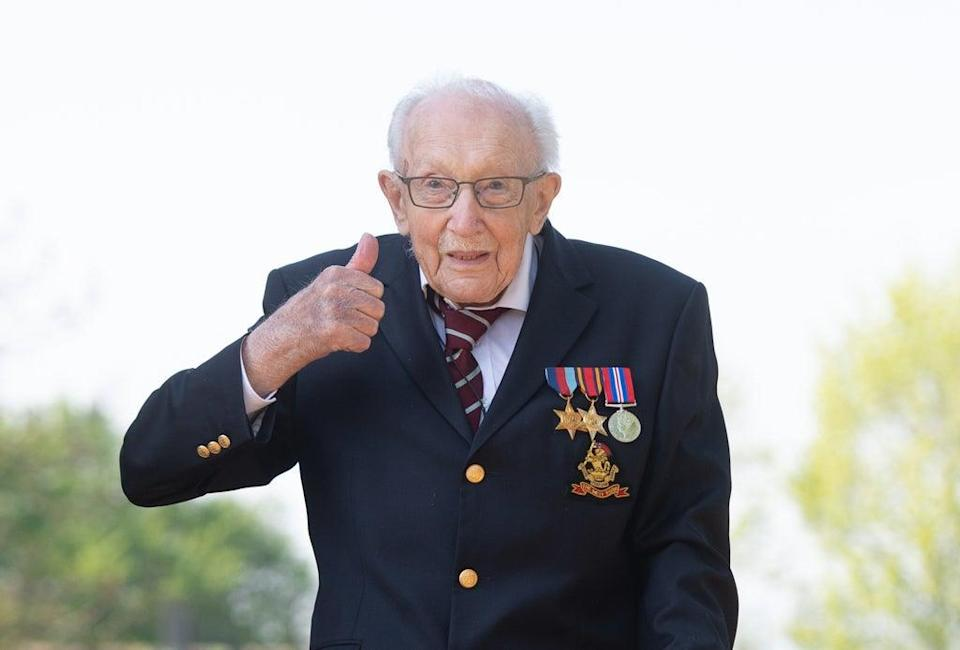 Special poppy pins made in tribute to Captain Sir Tom Moore are to be sold to raise funds for the Royal British Legion (Joe Giddens/ PA) (PA Wire)