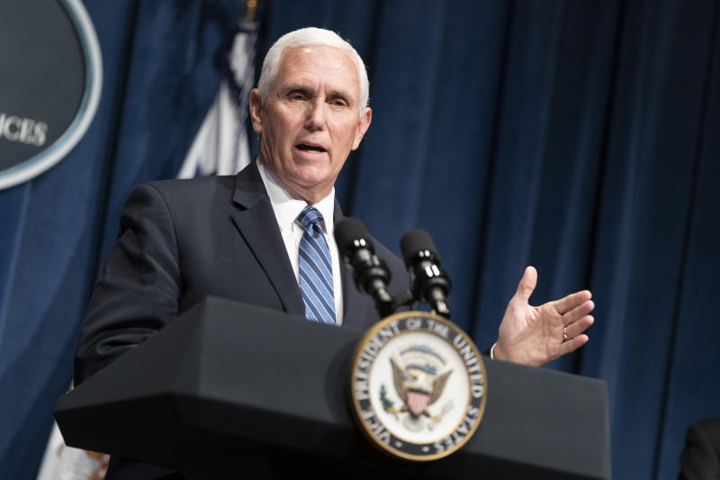 WASHINGTON, DC - JUNE 26: Vice President Mike Pence speaks after leading a White House Coronavirus Task Force briefing at the Department of Health and Human Services on June 26, 2020 in Washington, DC. Cases of coronavirus disease (COVID-19) are rising in southern and western states forcing businesses to remain closed. (Photo by Joshua Roberts/Getty Images)